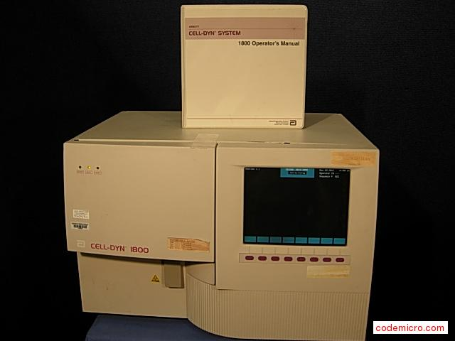 Hematology Analyzer: Date Of Mfr.:july 2003software Version 1.1includes Operators Manual26 X 21 X 17hi 122lbs.